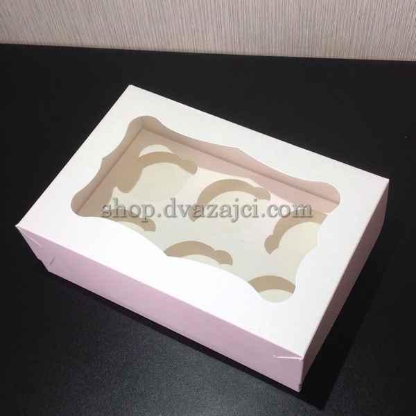 коробка 6 капкейков с окном