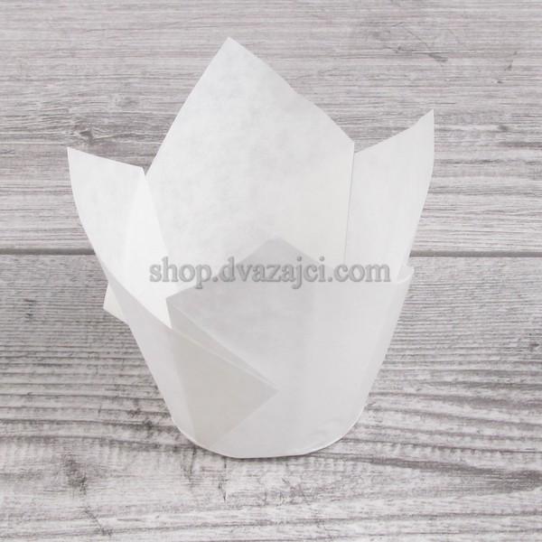Бумажный стаканчик для кекса Тюльпан 50 белый