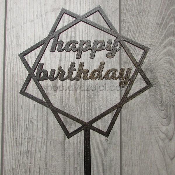 Топпер пластиковый Happy Birthday