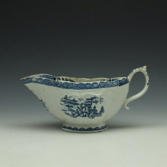 Derby Fisherman and Landscape Pattern Sauceboat c1765 (1)