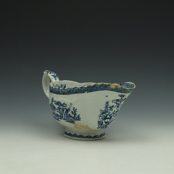 Derby Fisherman and Landscape Pattern Sauceboat c1765 (3)