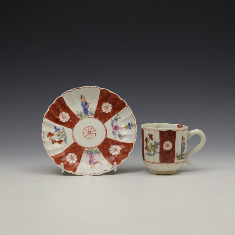 Derby Porcelain Scarlet Japan Mandarin Pattern Coffee Cup and Saucer c1758-80 (1)