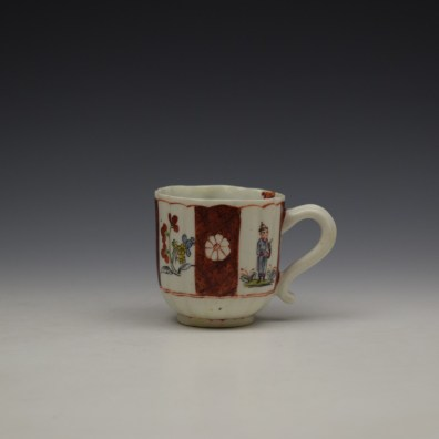 Derby Porcelain Scarlet Japan Mandarin Pattern Coffee Cup and Saucer c1758-80 (2)