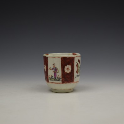 Derby Porcelain Scarlet Japan Mandarin Pattern Coffee Cup and Saucer c1758-80 (4)