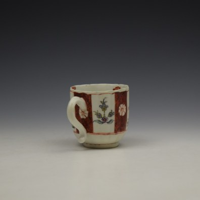 Derby Porcelain Scarlet Japan Mandarin Pattern Coffee Cup and Saucer c1758-80 (7)