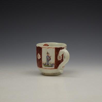 Derby Porcelain Scarlet Japan Mandarin Pattern Coffee Cup and Saucer c1758-80 (8)