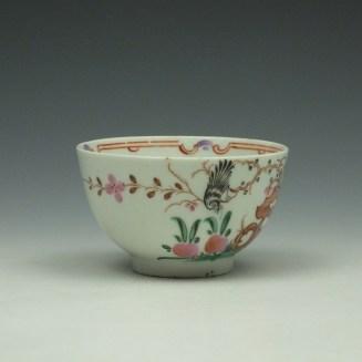 Lowestoft Blackbird Pattern Teabowl c1780-90 (2)