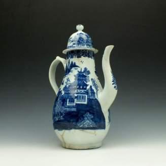 Lowestoft Dark Landscape Pattern Coffee Pot and Cover c1785-95 (4)