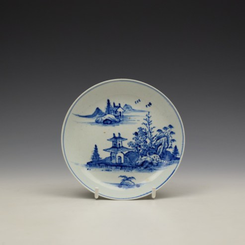 Vauxhall Two Storey Pagoda River Landscape Pattern Saucer c1755-60 (1)