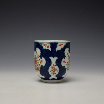 Worcester Blue Scale Floral Pattern Chocolate Cup and Saucer c1770 (3)