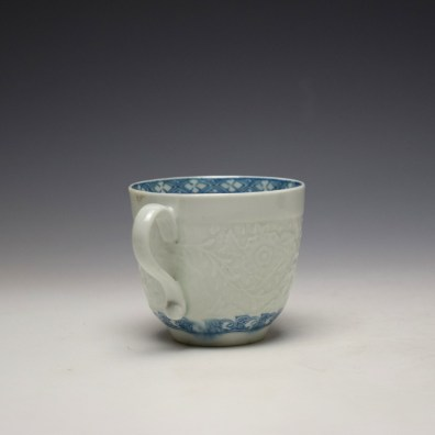 Worcester Chrysanthemum Moulded Coffee Cup and Saucer c1758-60 (4)