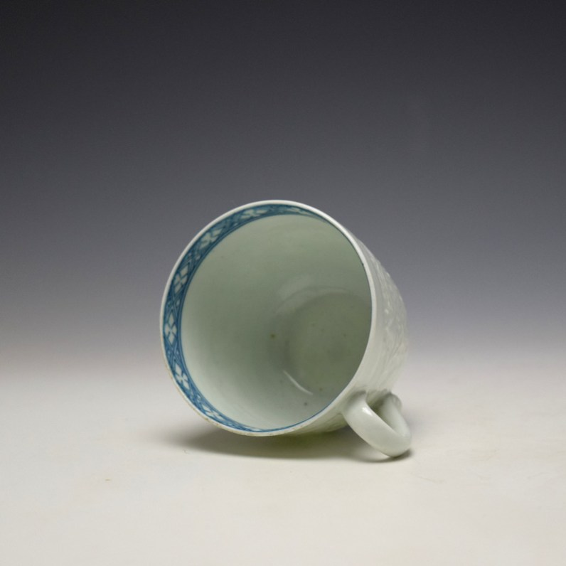 Worcester Chrysanthemum Moulded Coffee Cup and Saucer c1758-60 (6)