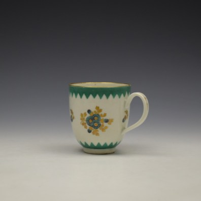 Worcester Green Floral Pattern Coffee Cup c1770 (5)
