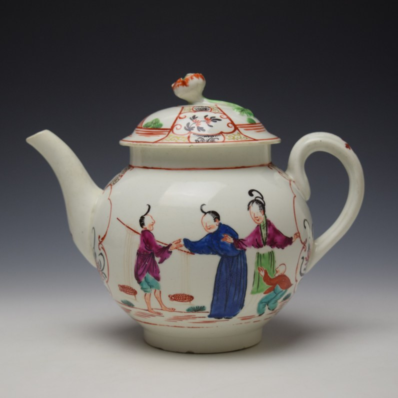 Worcester Mandarin Fish Monger Boy In the Window Pattern Teapot and Cover c1775-80 (1)