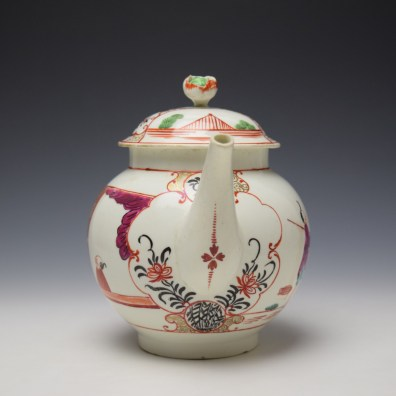 Worcester Mandarin Fish Monger Boy In the Window Pattern Teapot and Cover c1775-80 (3)