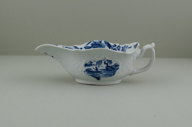 Worcester Porcelain Dr Wall Period The Boatman Pattern Low footed Sauceboat, C1755. 1