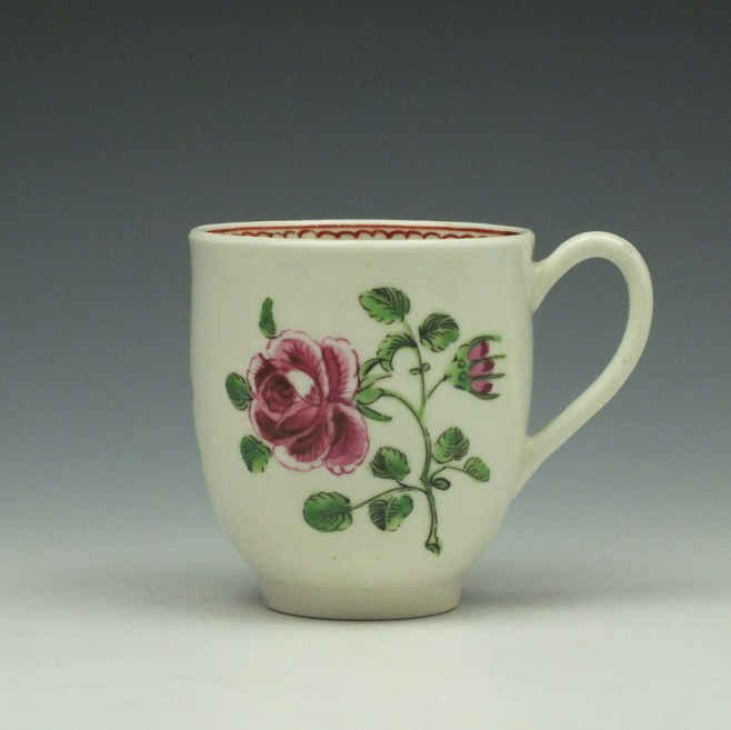 Worcester Porcelain Rose Pattern Coffee Cup c1770-85 (1)