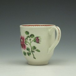Worcester Porcelain Rose Pattern Coffee Cup c1770-85 (5)