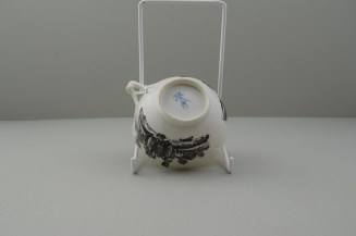 Worcester Porcelain Black Printed Milkmaids Pattern Trio With Uncommon Twist Handle. 17