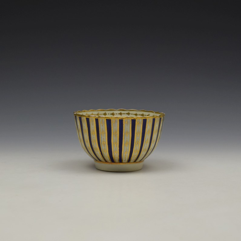 Blue and Gold Arrow and Dot Pattern Trio c1775-85 (8)