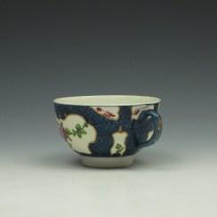 Worcester Blue Scale Floral Pattern Teacup c1760-70 (5)