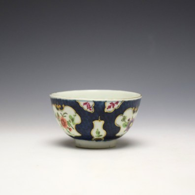 Worcester Blue Scale Panelled Floral Pattern Teabowl and Saucer c1770-75 (2)
