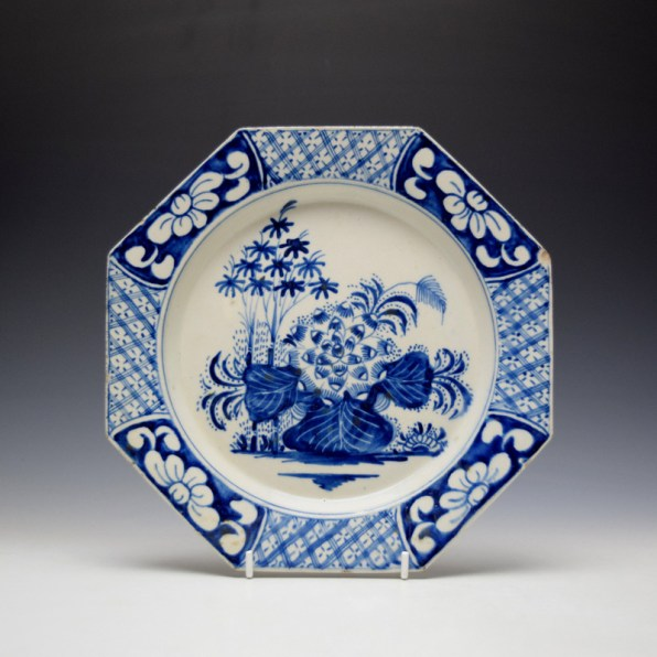Bow Lotus and Bamboo Pattern Octagonal Plate c1760 (1)