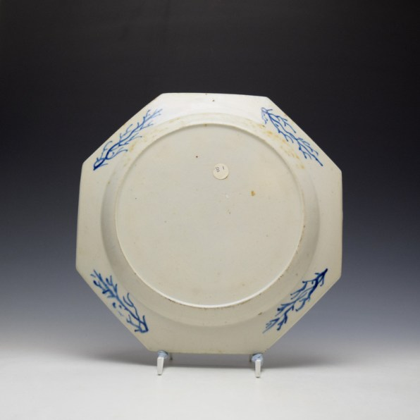 Bow Lotus and Bamboo Pattern Octagonal Plate c1760 (2)