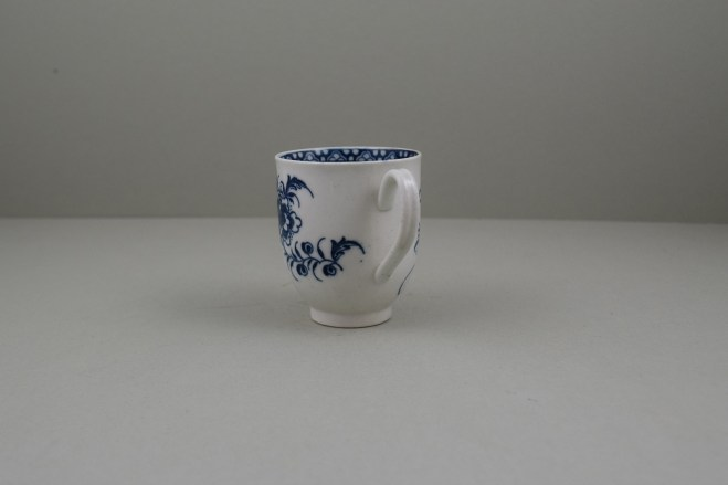Caughley Porcelain Printed Peony Pattern Coffee Cup, C1778-85.6