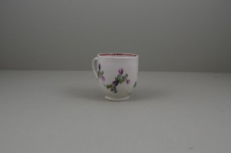 Lowestoft Porcelain Curtis Flower Pattern Coffee Cup and Saucer, C1785-95 (5)