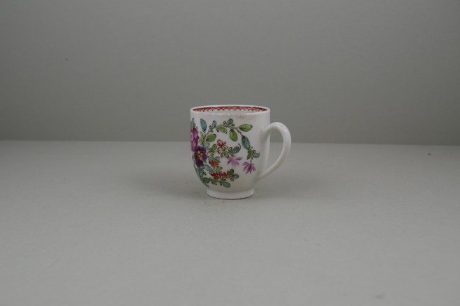 Lowestoft Porcelain Curtis Flower Pattern Coffee Cup and Saucer, C1785-95 (9)