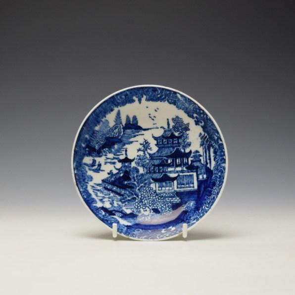 Lowestoft Dark Landscape Pattern Teabowl and Saucer c1790-1800 (7)