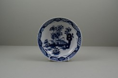 Lowestoft Porcelain Fence Hollow Rock and Peony Pattern Trio, C1785-1800. q