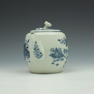 Worcester Fence Pattern Barrel Shape Teapot and Cover c1775 (2)