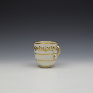 Derby Gilded Star Pattern Chocolate Cup and Stand c1782-1800 (4)