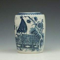 Caughley Fisherman Pattern Tea Canister c1779-99 (5)