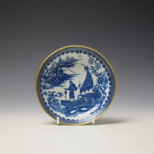 Caughley Fisherman Pattern Teabowl and saucer c1779-99 (8)