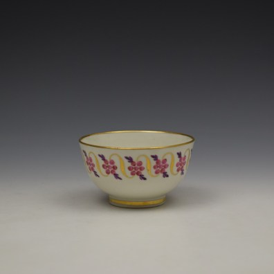 Caughley Floral Banded Swags Pattern Teabowl and Saucer c1790 (2)