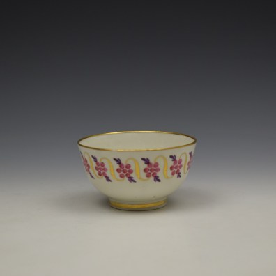 Caughley Floral Banded Swags Pattern Teabowl and Saucer c1790 (3)