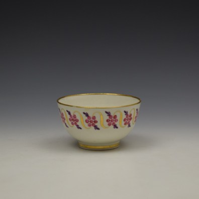 Caughley Floral Banded Swags Pattern Teabowl and Saucer c1790 (4)