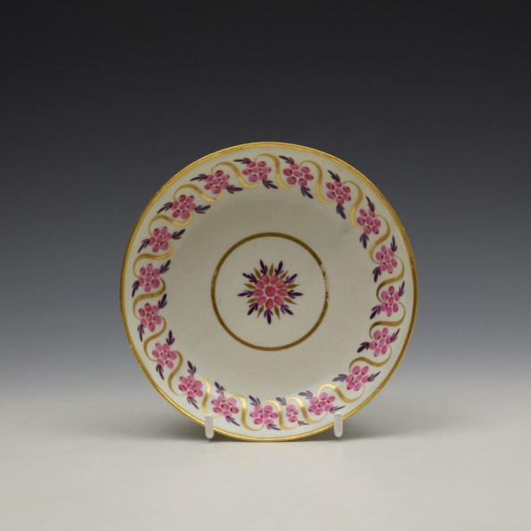 Caughley Floral Banded Swags Pattern Teabowl and Saucer c1790 (7)