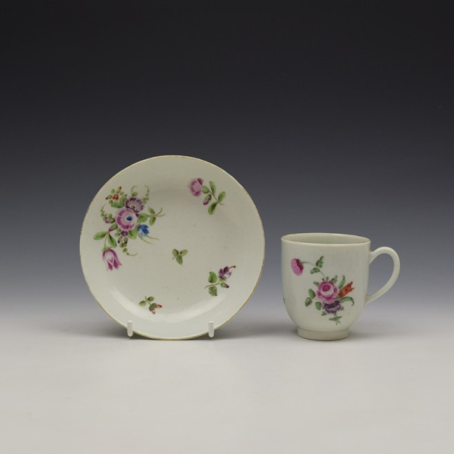 Worcester Floral Pattern Coffee Cup and Saucer c1770-80 Ex Jean Lucas Collection (1)