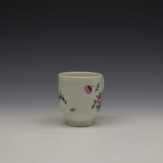 Worcester Floral Pattern Coffee Cup and Saucer c1770-80 Ex Jean Lucas Collection (3)