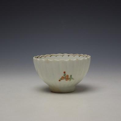 Lowestoft fluted floral teabowl and saucer c1785-90 (4)
