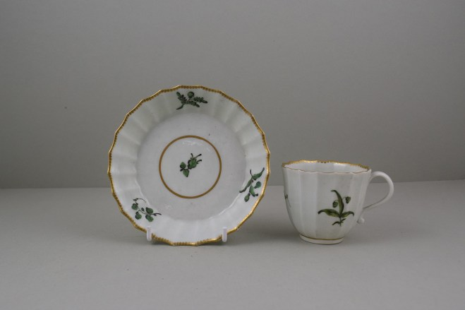 Worcester Porcelain First Period Fluted Green Leaf Sprigs Pattern Coffee Cup and Saucer (1)