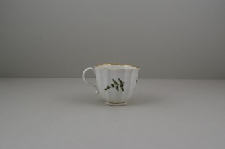 Worcester Porcelain First Period Fluted Green Leaf Sprigs Pattern Coffee Cup and Saucer (5)