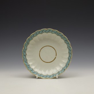 Worcester Fluted Turquoise and Garland Border Pattern Coffee Cup and Saucer c1785-1800 (8)