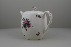 Worcester Porcelain First Period French Style Flower Pattern Barrel Shape Teapot a (8)