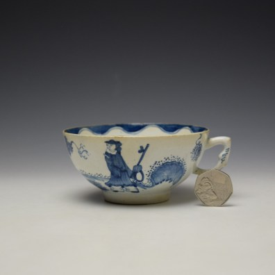 Bow Golfer and Caddy Pattern Breackfast Sized Teacup c1758-62 (2)