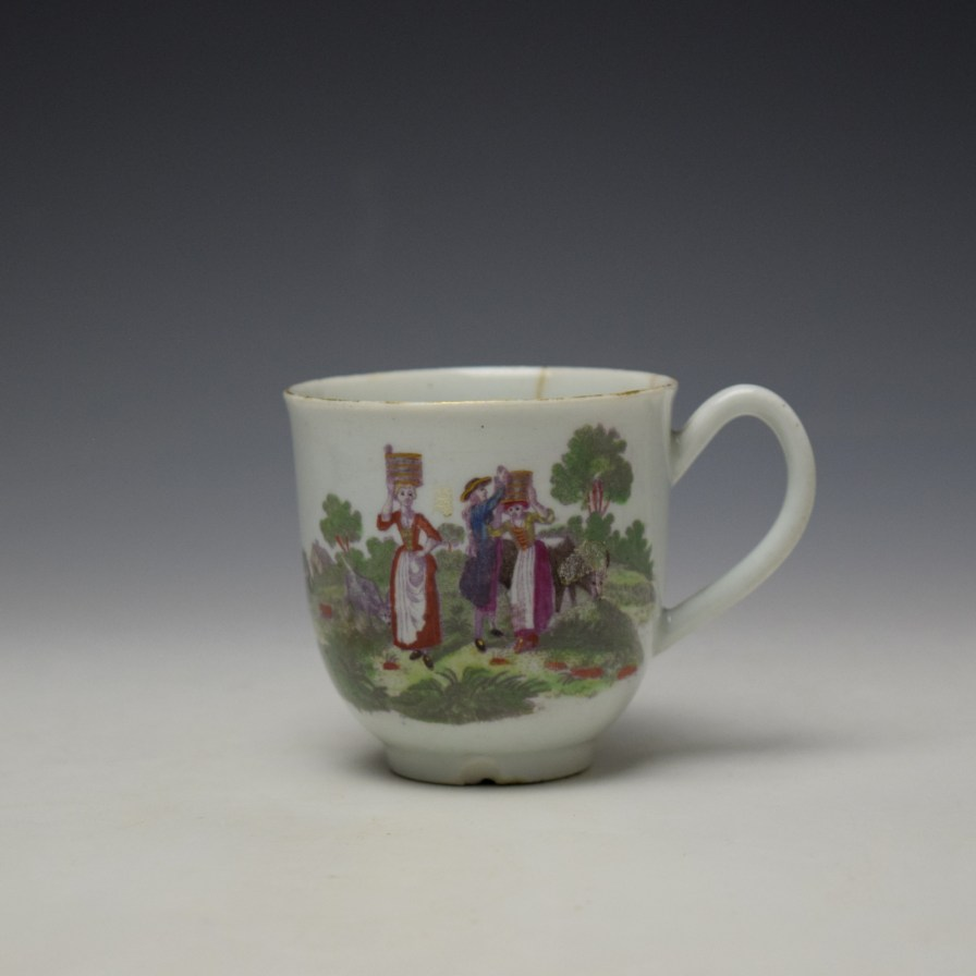 Worcester Milkmaids Pattern Hand Coloured Coffee Cup c1775-80 (1)